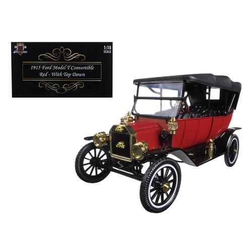 1915 Ford Model T Soft Top Red 1/18 Diecast Model Car by Motorcity Classics