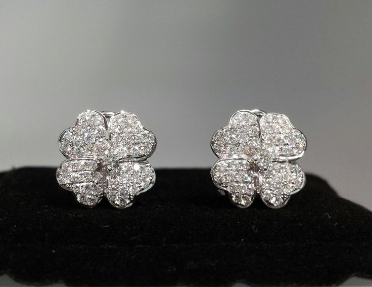 #diamondearrings Perfect for Spring!- 18k white gold #flowers with 1.79 cts. of diamonds !
