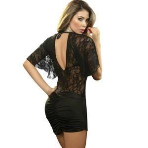 Noir Sexy Grande taille Robes de club Fête Mini-robe Manche courte V-cou Robes moulantes