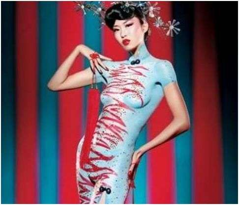Culture-Specific Body Painting - Body art is always popular. The traditional Chinese dress called the cheongsam was the inspiration behind a successful body painting exhibition by ...