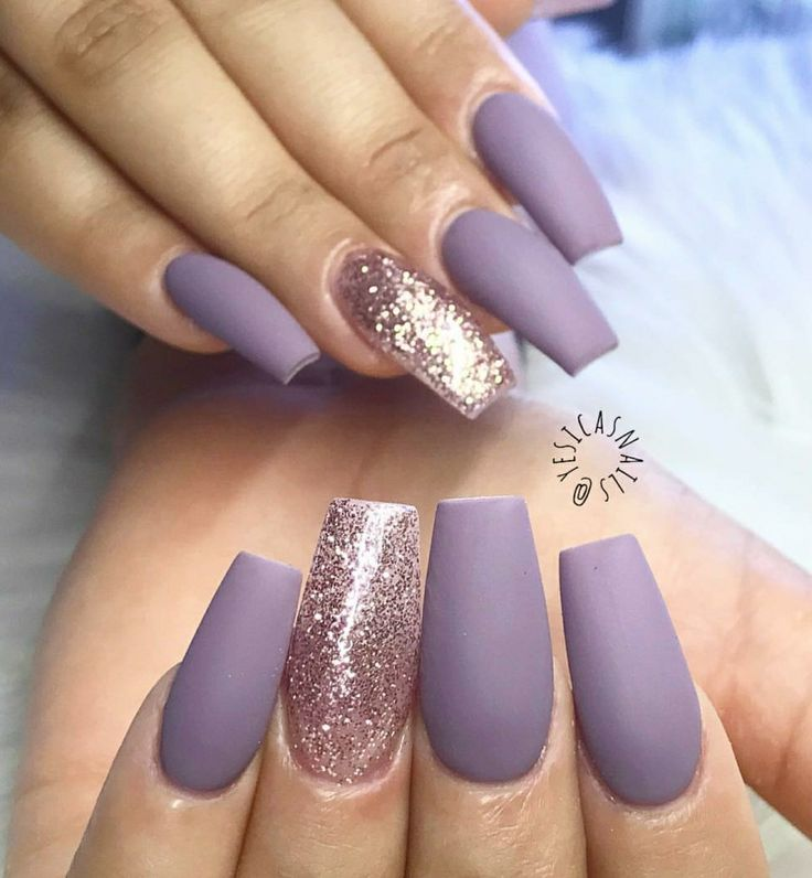 Tapered Square Nails Violet Matte Glitter Acrylic