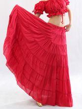 Jupe longue rouge pour la danse du ventre, style bohème-No.1