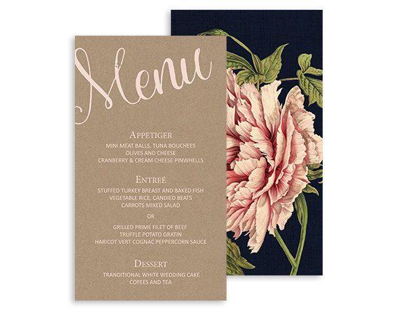 Peony wedding menu cards - Peony Blossom Wedding Reception - Floral Wedding Dinner Menus - Navy, Pink, kraft - 5x7   Pink peony by NicyaPrintables on Etsy
