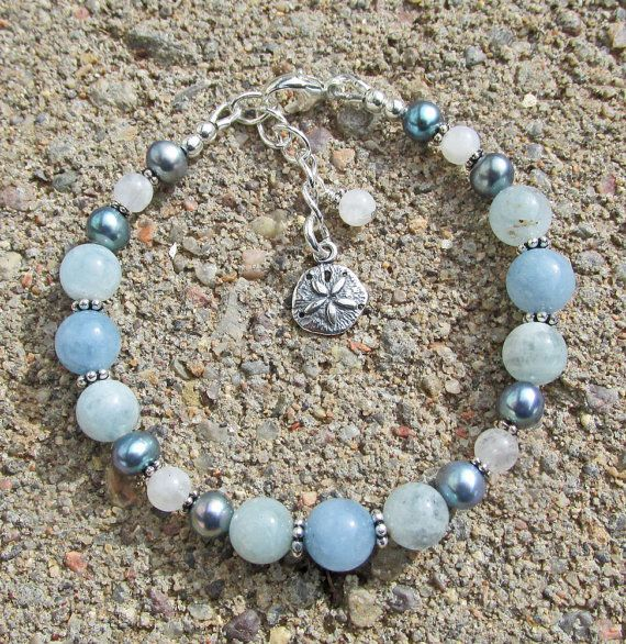 Aquamarine Moonstone Pearl Sand Dollar March Healing by IndieWolf