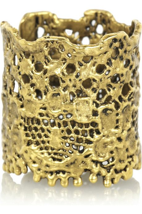 Cotton-lace ring dipped in 18-karat gold. Aurélie Bidermann handmade ring (but you could do a DIY version with lace, mod podge and gold paint)