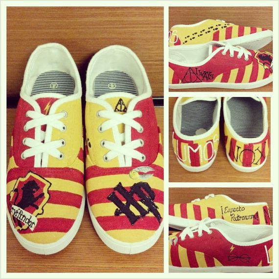 Sooooo if anyone wants to buy me these for my birthday or Christmas... Feel free to do so!   FOR SALE!  Handmade Harry Potter Gryffindor LaceUp Tennis Shoes by AccioFandoms, $35.00