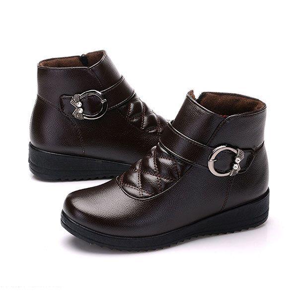 Buckle Decoration Fur Lining Zipper Ankle Short Boots