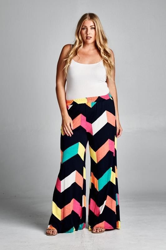 SALE! $29.99 XL 2X 3X Plus Size Chevron Print Wide Leg Palazzo Pants ~ FREE US SHIPPING #Emerald #Palazzo