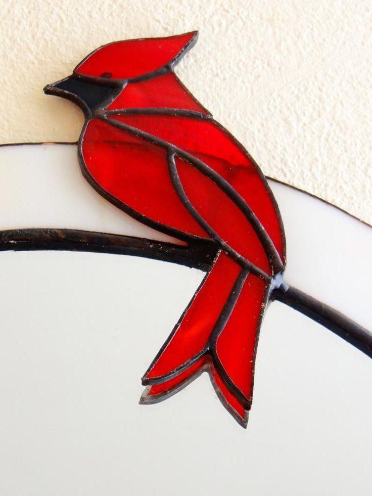 Lily et cardinal miroir vitrail panneau rose suspendu miroir fête des mères cadeau mur miroir mural décor ovale miroir avec des fleurs de Lys fait à la main