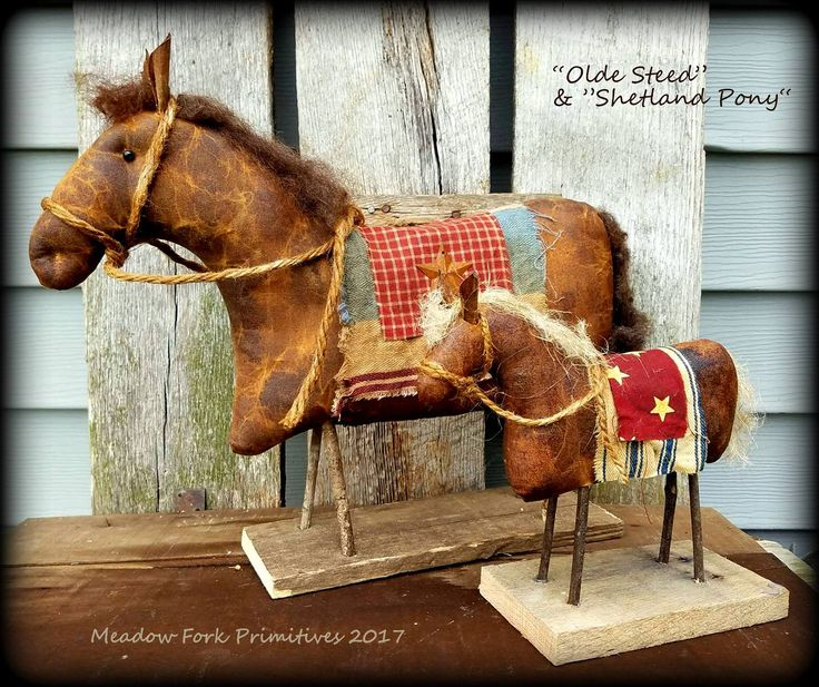 Made to Order-Primitive Folk Art Olde Steed & Shetland Pony-Horse-Horses-Shelf Sitters-Handcrafted-Farmhouse-Faap, Hafair Team by MeadowForkPrims on Etsy