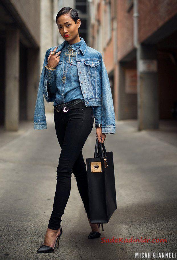 2019 Kot Ceket Kombinleri Siyah Skinny Pantolon Mavi Kot Gömlek Mavi