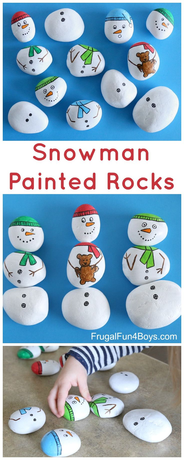 Snowman Painted Rocks - Build snowmen with mix and match painted rocks. #winter #kidsactivities #paintedrocks