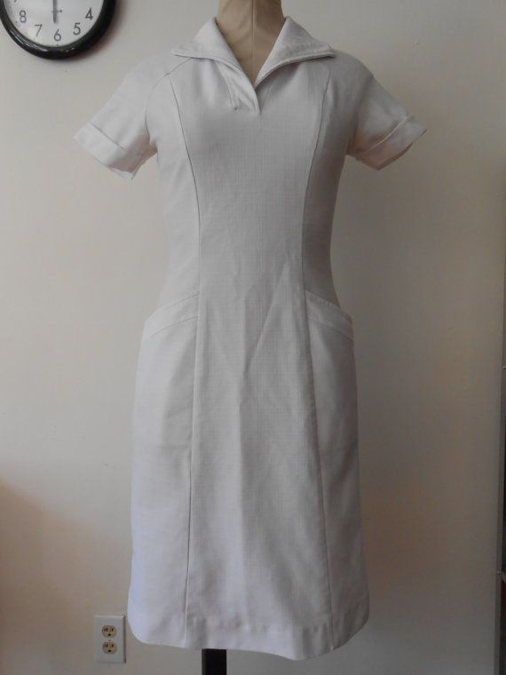 1960s white nurse uniform dress wiggle fit: Nurses Vintage Uniforms, Historical Nursing Vintage, Dresses, 1960S White, Nursing Vintage Uniforms, Historical Nur Vintage, Historical Nurses Vintage, 60S Nursing, Nur Vintage Uniforms