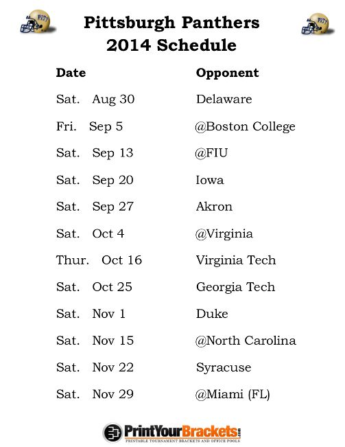 Printable Pittsburgh Panthers Football Schedule 2014