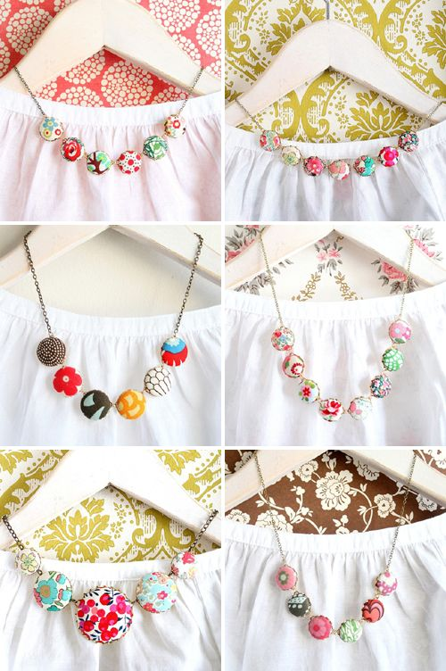 fabric covered button necklace ~ @ Heidi Griess, this is a cute idea for your buttons!