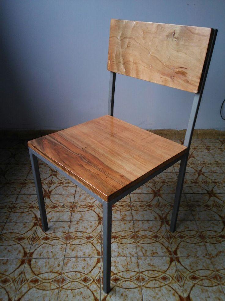 silla hierro y madera new vintage artesanal