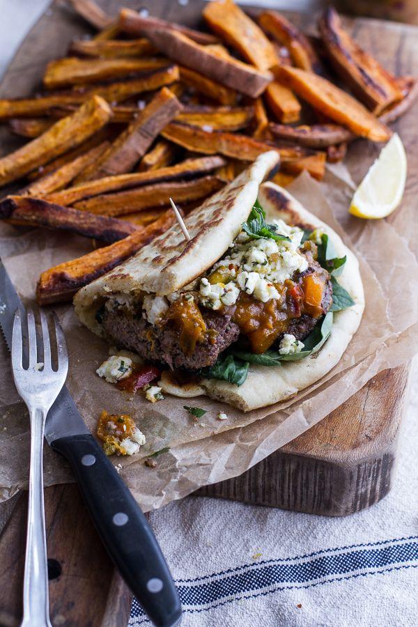 Moroccan Spiced Lamb Burgers with Apricot Chutney + Pistachio Feta Pesto   halfbakedharvest.com