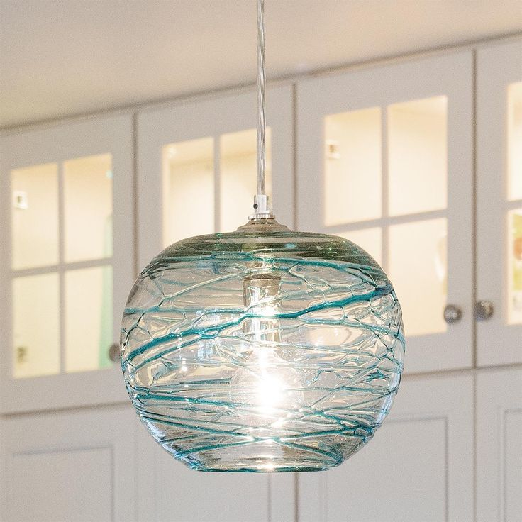 Swirling Glass Globe Mini Pendant Light
