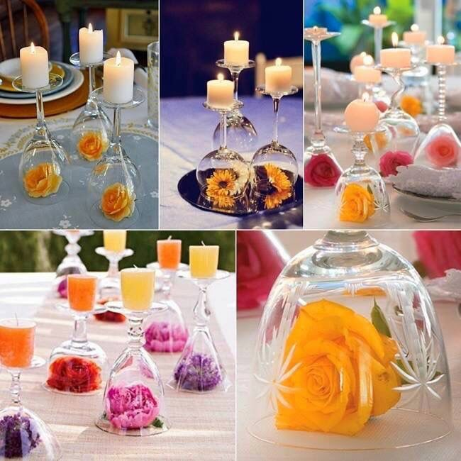 Flowers, glasses and candles. Who would have thought you could use these together.