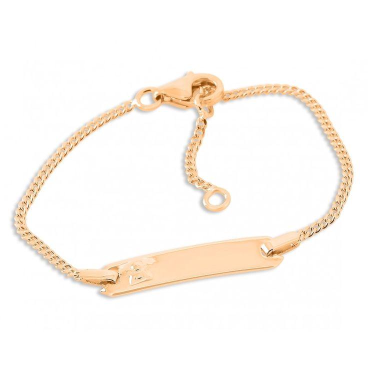 Ein schönes Taufarmband für Babys und Kinder aus 925 Sterling Silber. Das Armband wird mit Ihrem Wunschtext bzw. Wunschnamen graviert. Hierfür stehen Ihnen max. 12 Zeichen inkl. Leerzeichen zur Verfügung. Dieses Armband ist eine wundervolle Geschenkidee zur Taufe für das Baby oder Kleinkind. Das komplette Schmuckstück wird in Juwelierqualität hochwertig rosé vergoldet.