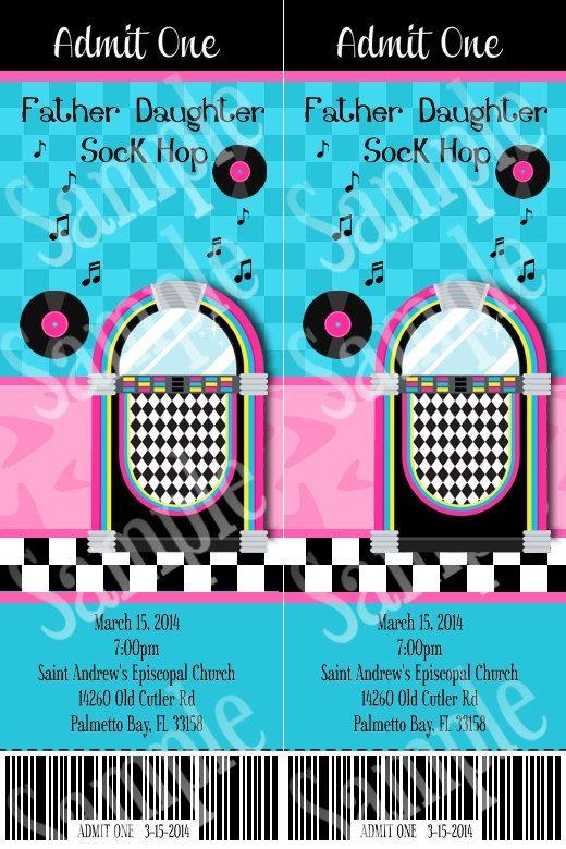Custom Ticket style 50's sock hop birthday by creativelyexpressive
