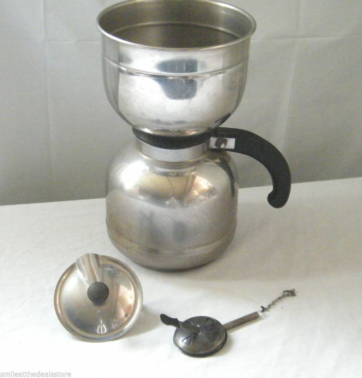 How To Use Vintage Coffee Maker : Vintage nicro stainless steel vacuum coffee maker pot made in the usa Vacuums, Pots and Steel