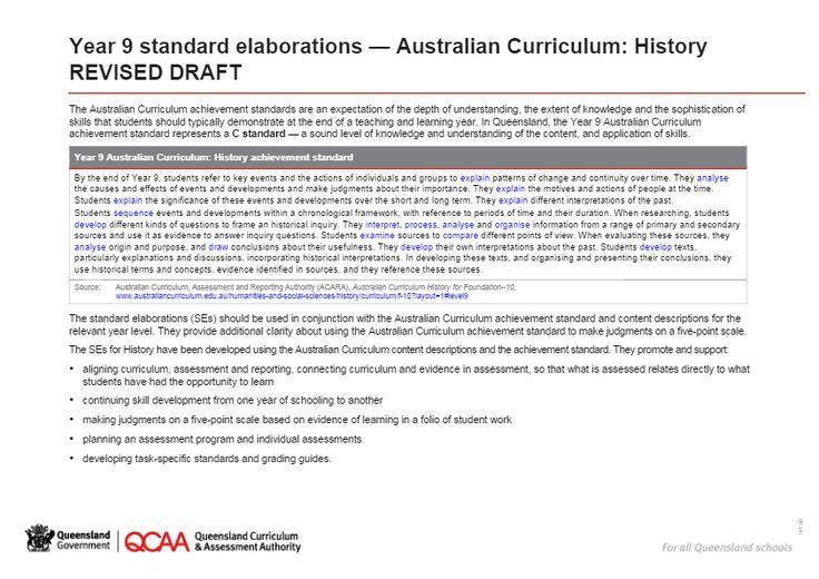 Year 9 History standard elaborations