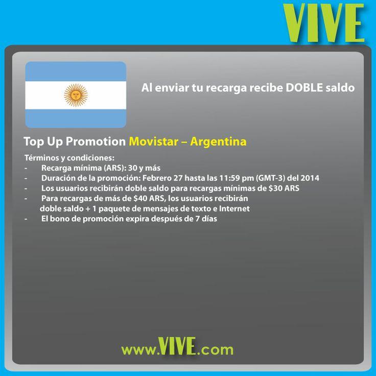 #HOY tu #recarga #móvil #internacional #Movistar a #Argentina recibe DOBLE saldo! Visita www.vive.com y regala crédito #airtime a tus seres queridos en #Argentina