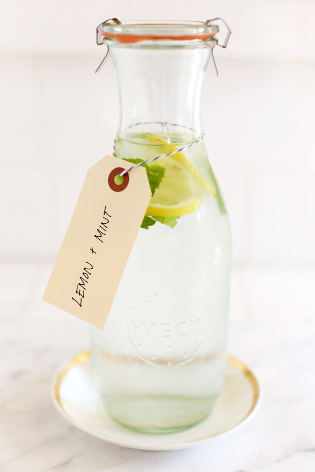 Refreshing summer delicacy ~ flavored water with lemons and mint.