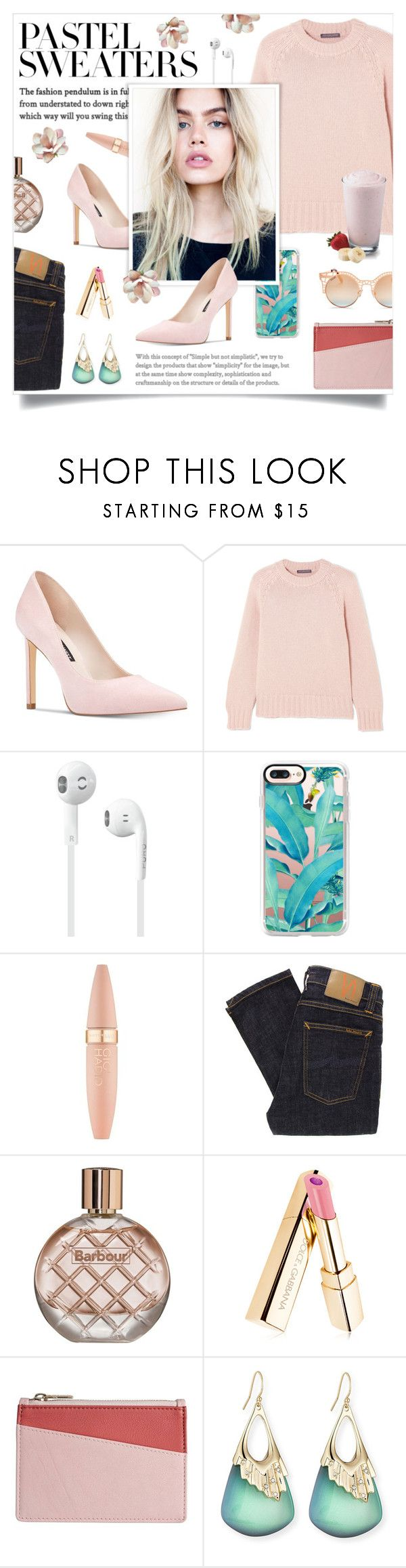 """""""Pastel Sweater"""" by linmari ❤ liked on Polyvore featuring Nine West, Alexander McQueen, Casetify, Maybelline, Nudie Jeans Co., Barbour, STOW, Alexis Bittar, Quay and pastelsweaters"""