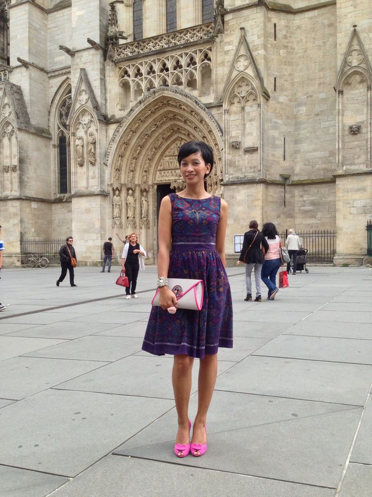 A custom-made Indonesian traditional handwoven (IKAT) dress by local talent, Shoes by Kate Spade, Clutch bought from Alun Alun Indonesia. This outfit was worn during my trip to Bordeaux, on the wedding day of my best friend there.