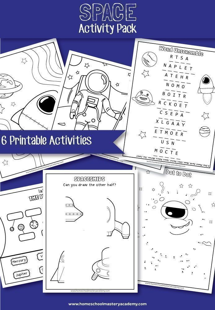 Space Early Learning Printable Activity Pack Space Activities Printable Activities Activity Pack