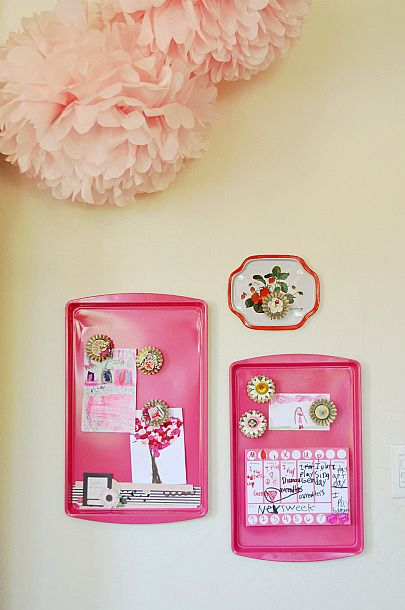 Painted cookie sheet magnetic boards.  You can also buy some inch thich corkboard use some strong glue and you will have a corkboard/magnetic board.  Great for bedrooms, kitchen, offices or smaller versions are great for lockers.