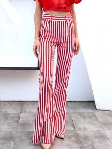 1baf4293a4d Red-White Striped Draped High Waisted Casual Bell Bottom Flare Long Pants