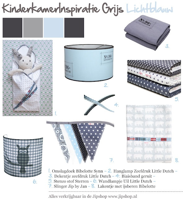 Kidsroom inspiration in Grey and Light blue with bedding and accessoires from Bibelotte, Jip by Jan and Little Dutch