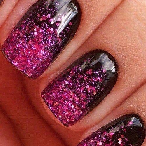 Black nails with pink glitter. So hot! | Hair, makeup ...