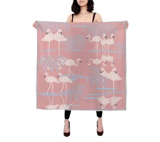 Image of Flamingos Silk Scarf