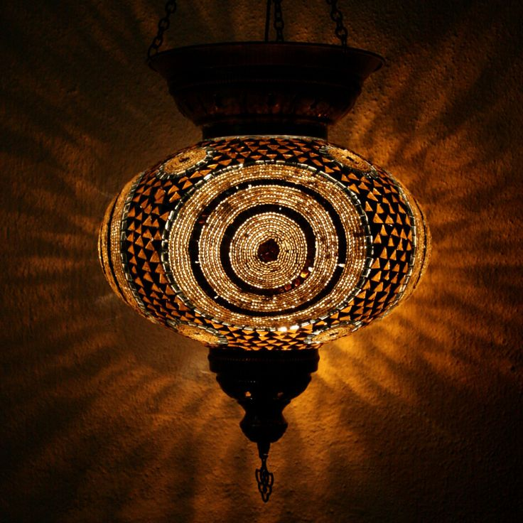 Amber Circles XXLarge Turkish Mosaic Lamp Shade