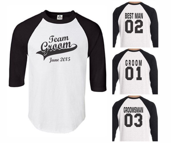 Team Groom Baseball Shirts, Mens Best Man Groomsman Wedding Bachelor Groom's Party Personalized Custom Gift Ideas T-Shirts Tshirts by PrintasticApparel on Etsy https://www.etsy.com/listing/245326304/team-groom-baseball-shirts-mens-best-man
