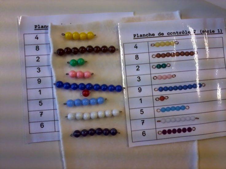 En classe avec Montessori: Les perles colorées Utiliser des cartes autocorrectives pour mémoriser le nombre associé à chaque barrette.