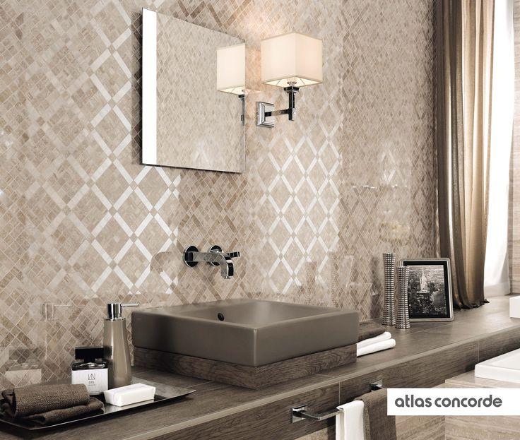 #MARVELPRO travertino silver diagonal mosaic | #AtlasConcorde | #Tiles | #Ceramic |