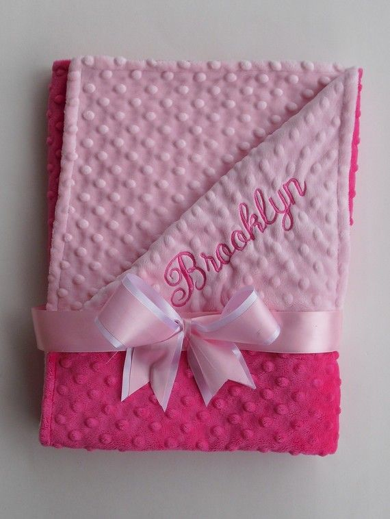 Personalized Hot Pink and Light Pink minky dot blanket - by The Sleeping Babe