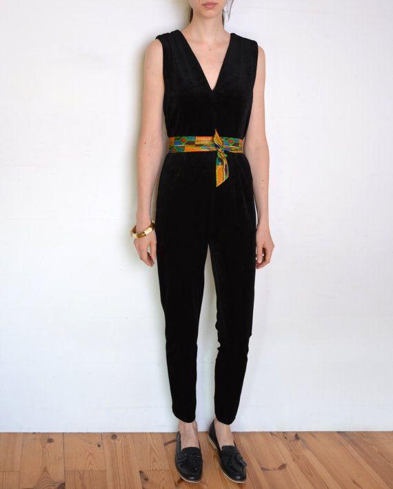 90's velvet jumpsuit black velvet long legs by WoodhouseStudios