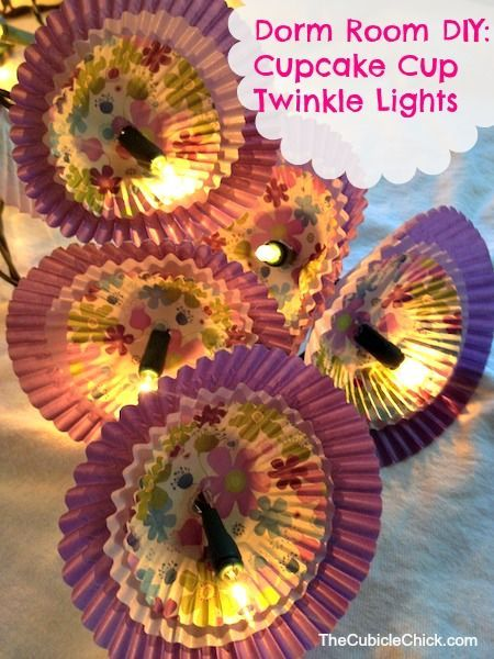 Dorm Room DIY Cupcake Cup Twinkle Lights! Totally a do! and easy to make! all you need are some cupcake liners and some lights.