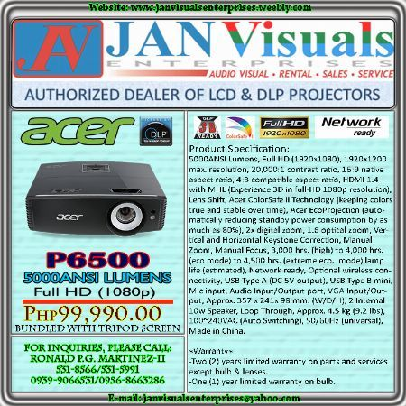 ACER P6500, ACER P6500 Full HD, ACER P6500 PROJECTOR, ACER P6500 5000 LUMENS DLP PROJECTOR, ACER P6500 PORTABLE Full HD PROJECTOR -- Projectors Metro Manila, Philippines