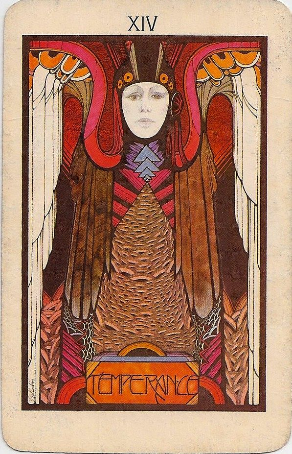 Art Deco deck of Aquarian Tarot, designed by graphic artist David Palladini, and published in 1970 by Morgan Press Inc.