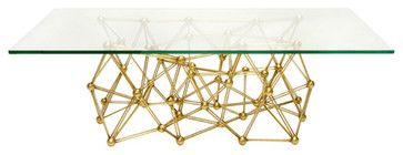 Worlds Away Molecule Gold Leaf Rectangular Coffee Table eclectic-coffee-tables