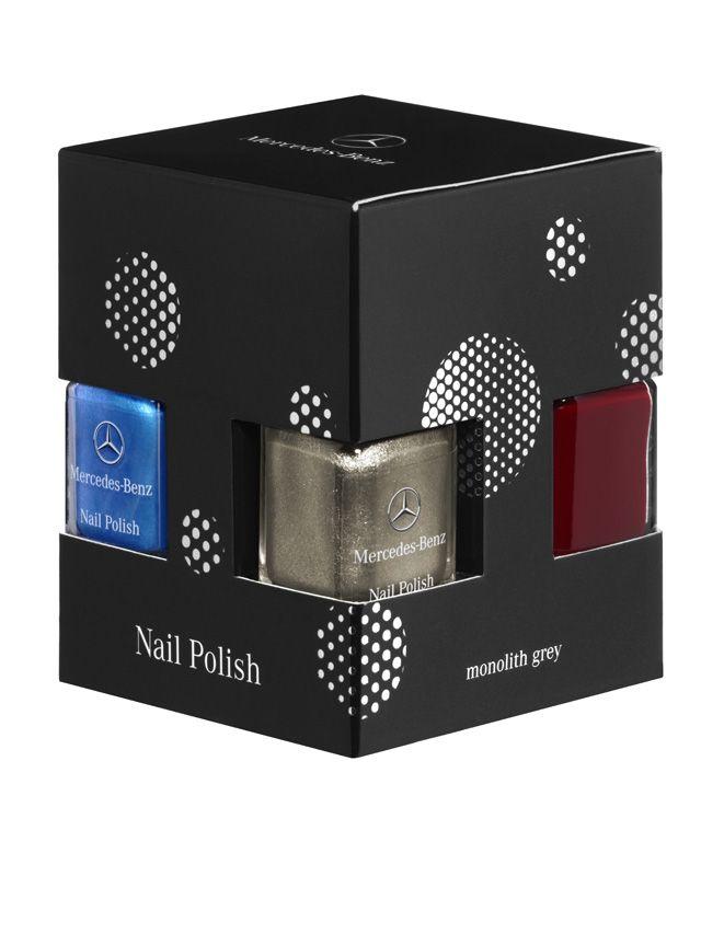Nail polish, set B66951163 Colour:Β Β Β  jupiter red/monolith grey/south sea blue  Nail polish set, consisting of three bottles of nail polish in genuine paintwork colours (jupiter red, monolith grey metallic, south sea blue metallic).  By LCN. Made in Luxembourg. In square box with logo print.