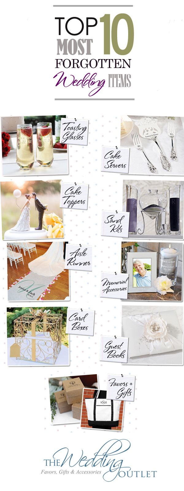 """Don't find yourself without these """"Top 10 Wedding Must Have Accessories"""" on your wedding day. Top wedding accessories you don't want to forget include: guest book, toasting flutes, cake topper, cake server set, card boxes, aisle runner, sand ceremony kit, memorial accessories, favors and bridal party gifts."""