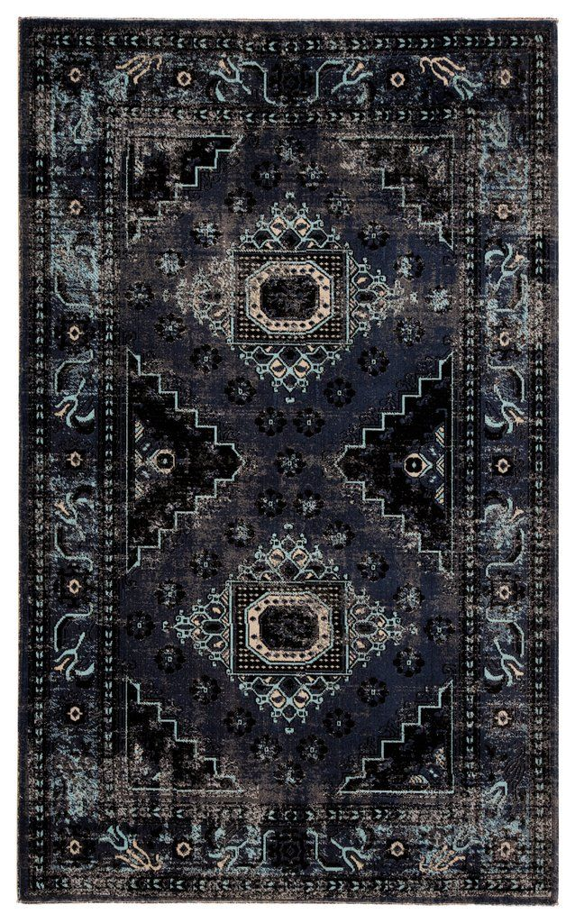 Westlyn Indoor Outdoor Medallion Black Blue Rug Design By Jaipur